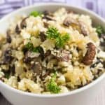 A bowl served with mushroom cauliflower rice
