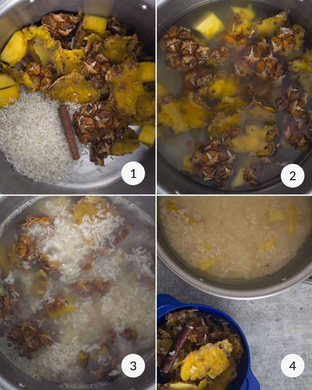 Step by step photos showing how to cook the rice and pineapple peel.