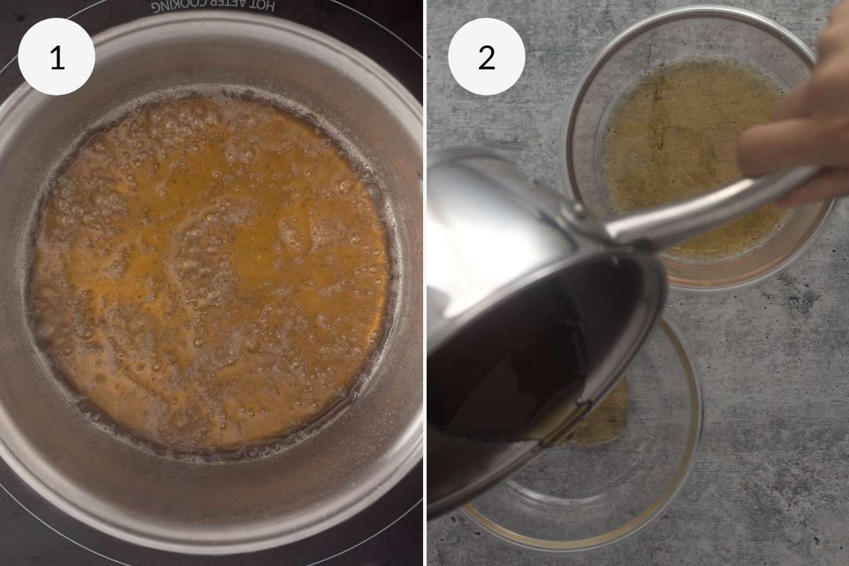 caramel in a saucepan and pouring into a dish