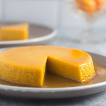 pumpkin flan served on a plate