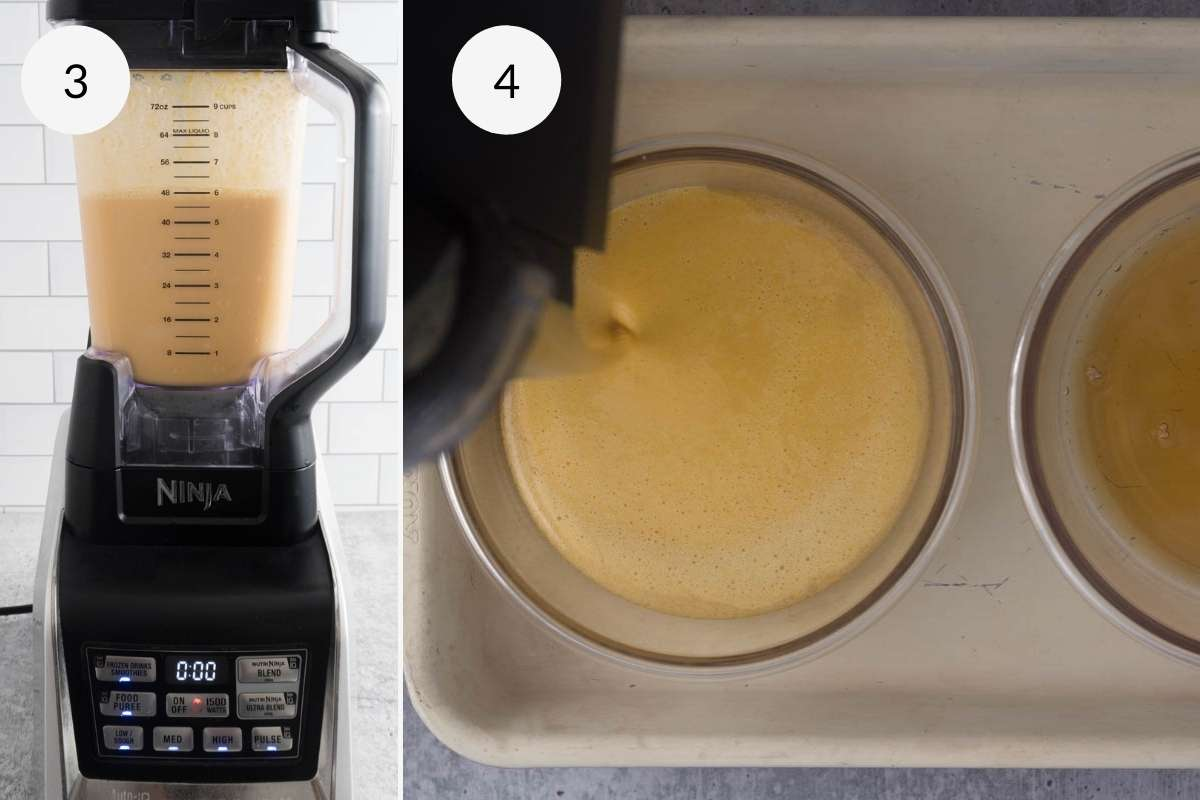 Blended mixture and pouring into a dish with caramel