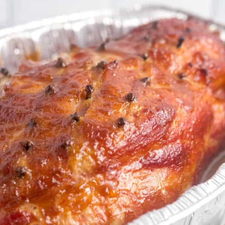 baked ham on a baking pan