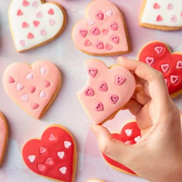 heart shaped cookies with frosting