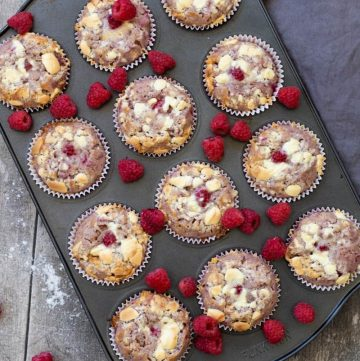 a muffin tin with twelve muffins baked