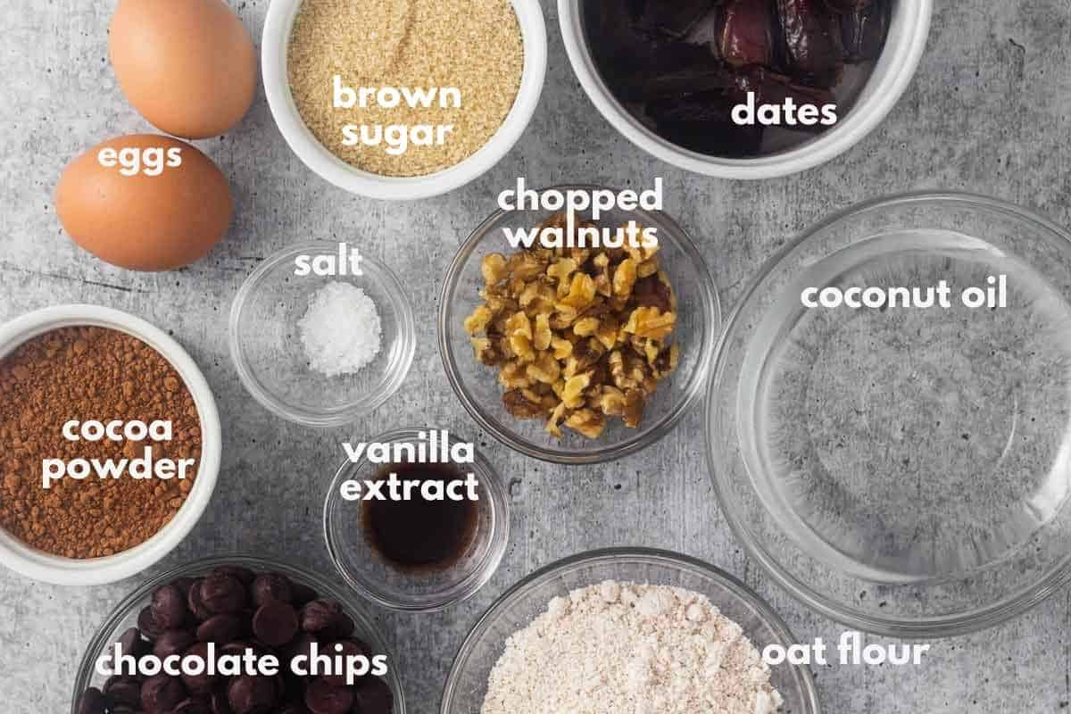 brownie ingredients in small dishes