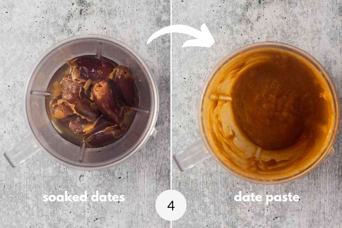 soked dates in a cup and blended dates in a cup