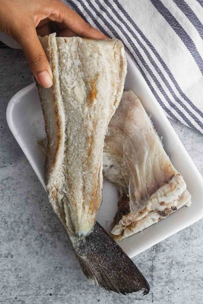 top view of salted cod inner part with coarse salt