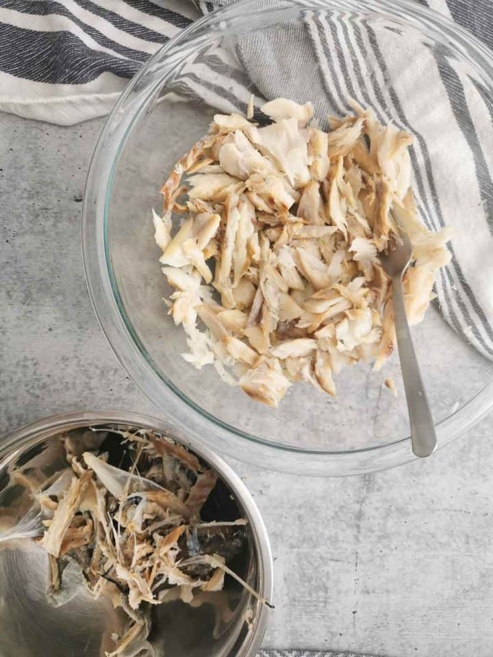 top view of shredded cod in a bowl